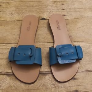 Anne Klein Womens Small Heel Sandals Blue
